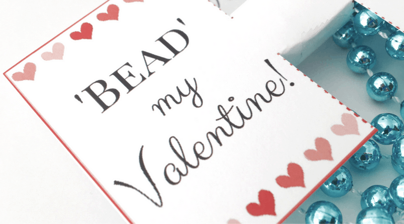 A Non-Candy Valentine idea using bead necklaces ~ Free Template!