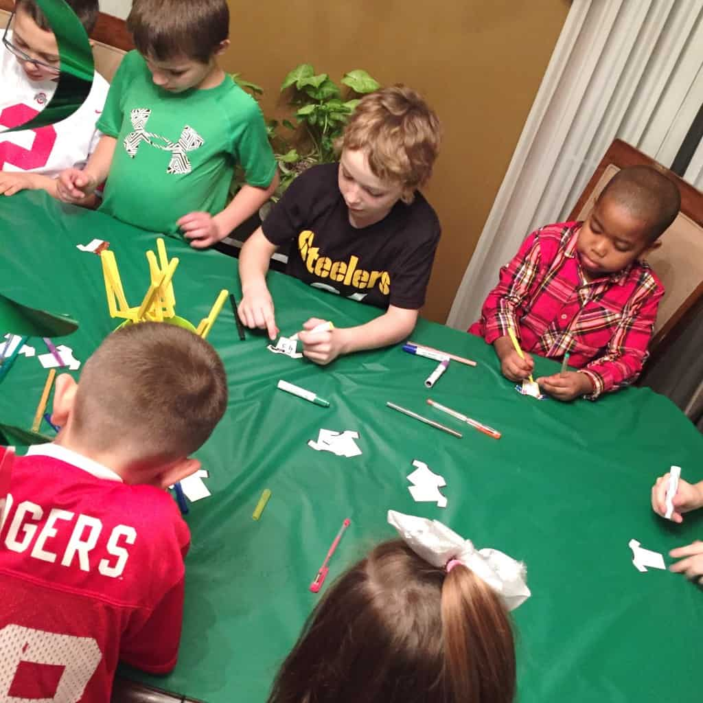 Custom Sports Jerseys. This indoor sports party is sure to be a hit! With an activity for football, baseball, soccer, and basketball. A great birthday party theme for all ages.