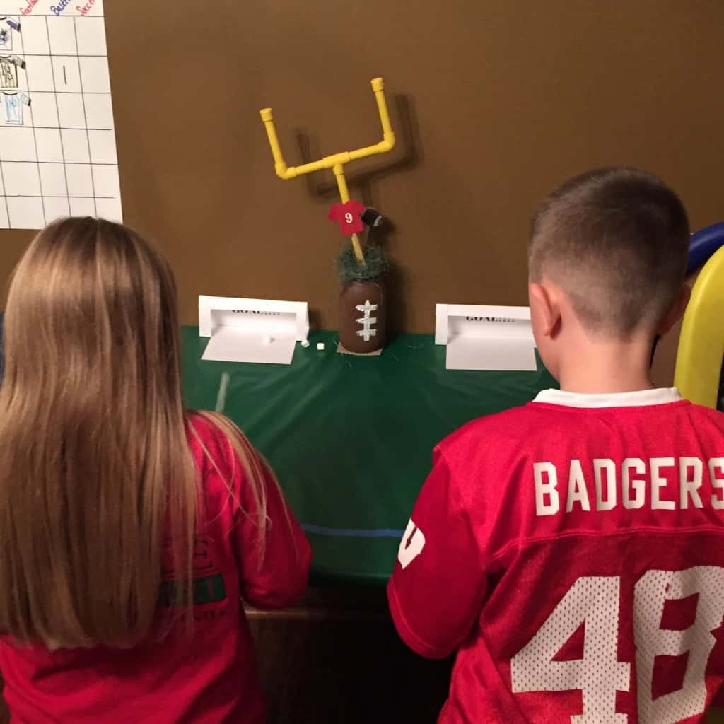 Mini Marshmallow Soccer. This indoor sports party is sure to be a hit! With an activity for football, baseball, soccer, and basketball. A great birthday party theme for all ages.