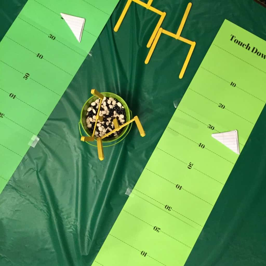 Paper Football Fields. This indoor sports party is sure to be a hit! With an activity for football, baseball, soccer, and basketball. A great birthday party theme for all ages.