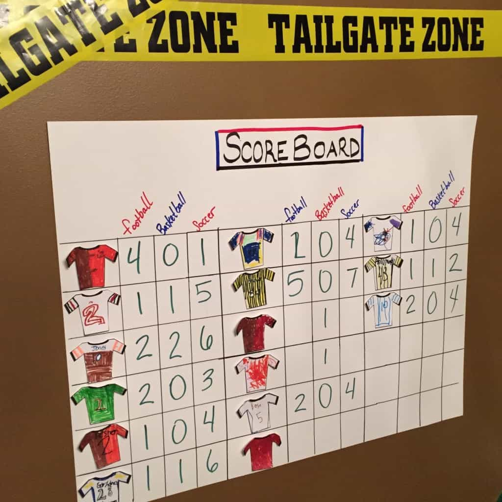 Indoor sports party scoreboard. This indoor sports party is sure to be a hit! With an activity for football, baseball, soccer, and basketball. A great birthday party theme for all ages.