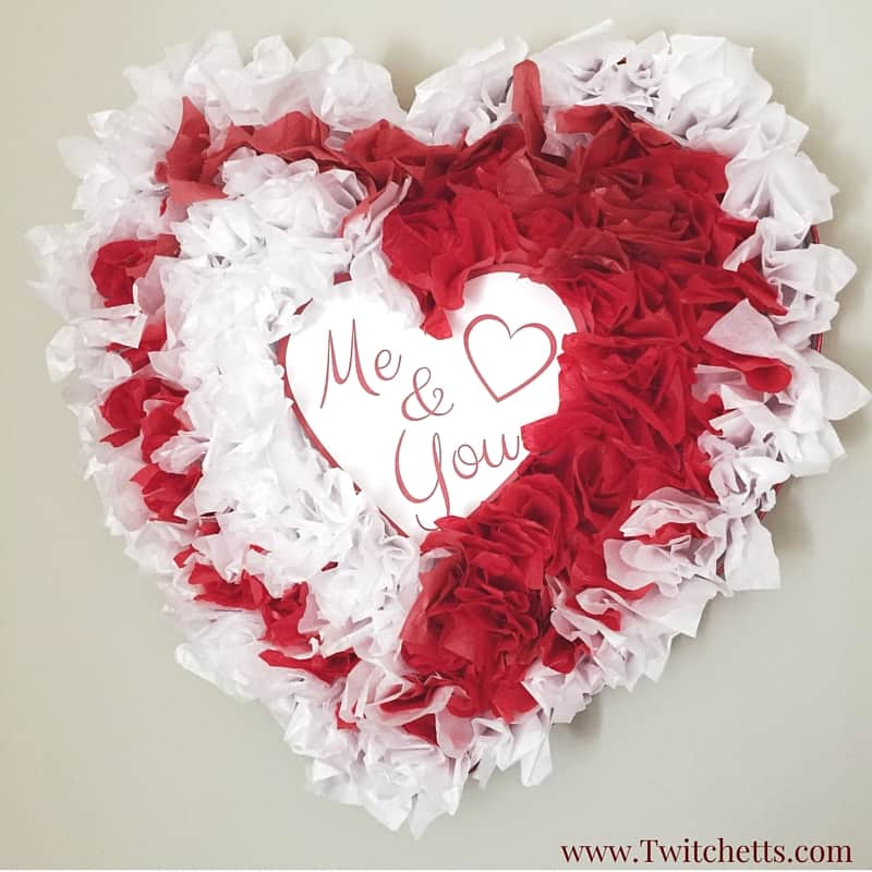 These upcycled tissue paper hearts are the perfect Valentine's Day decorations. Reuse some of that Christmas tissue paper & upcycle a chocolate heart box.