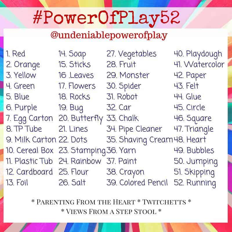Join us for 52 weeks of prompts to encourage you to teach your child through play. The Undeniable Power of Play.
