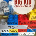"""Image of chore chart made from Lego. Text Reads """"Big Kid Chore chart"""""""