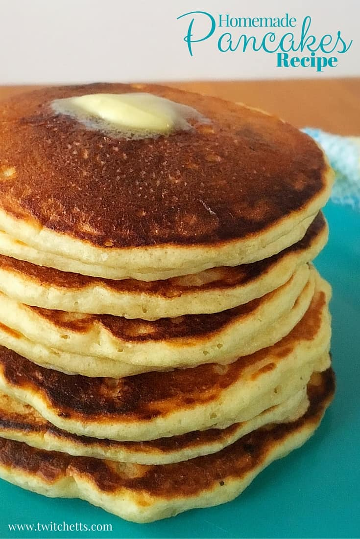 Homemade Pancake Recipe. Simple and delicious breakfast recipe. Perfect for dinner too! Plus you can make ahead and freeze for later!