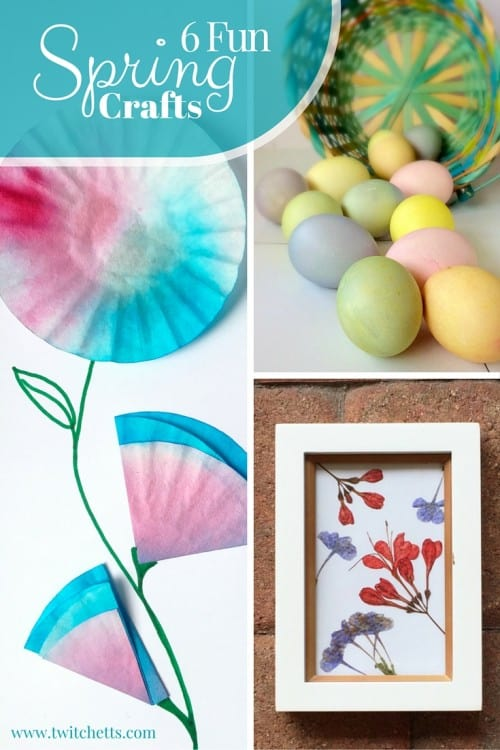 6 Fun Spring Crafts. Eggs for Easter and Flower craft tutorials. Includes easter eggs, coloring pages, pressed flowers, foil flowers, doily roses, and coffee filter flowers
