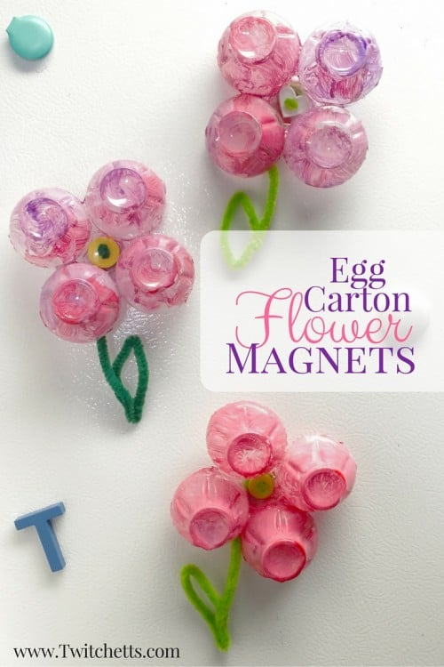 Egg Carton Flower Magnets are perfect egg carton crafts kids. This is a toddler or preschool activity that is quick, easy, & turns out beautiful every time! Perfect spring craft!
