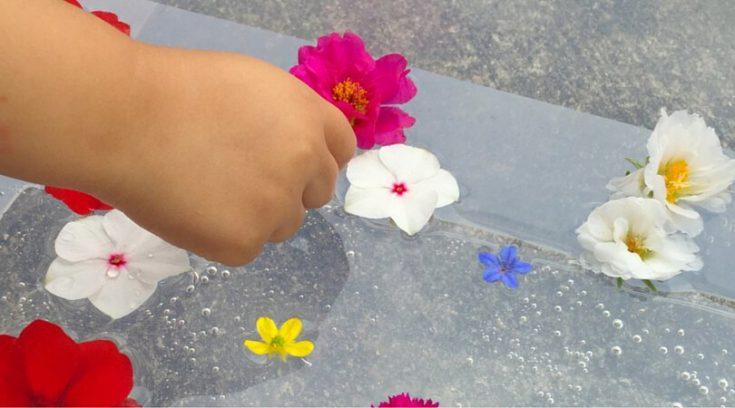 3 fun ways to play with a simple flower sensory bin