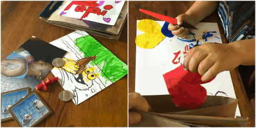Recycled grocery bag craft books. Fun for Father's Day gifts, Mother's Day gifts, birthdays, stories, scavenger hunts, nature walks, and more. A great activity for toddlers and big kids too!