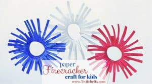 These paper firecrackers are the perfect kids craft for the 4th of July. Could be used as party decor or just as a fun activity for the kids.