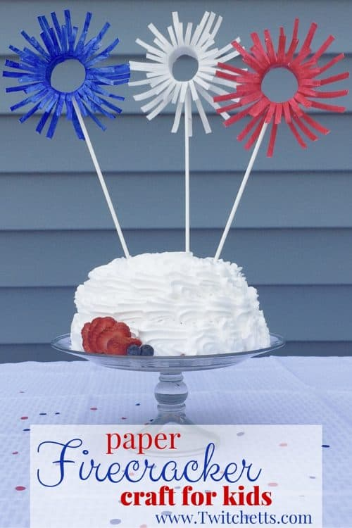 These paper firework crafts are the perfect kids craft for the 4th of July. Could be used as 4th of July decorations or just as fun Fourth of July crafts for the kids. These are set up for cake decoration. Could be a fun Independence day or Memorial Day crafts too!