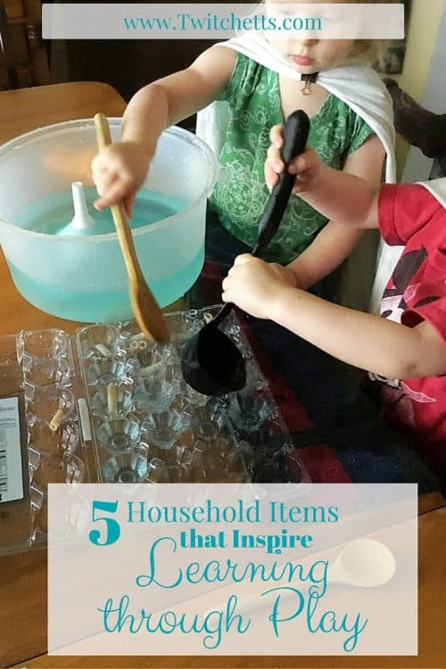 5 Household Items that Inspire Learning Through Play-Entertain your kiddos with play-based learning at home. You don't need fancy craft ideas to teach your children. Simple items from around your home can inspire your child's imagination.