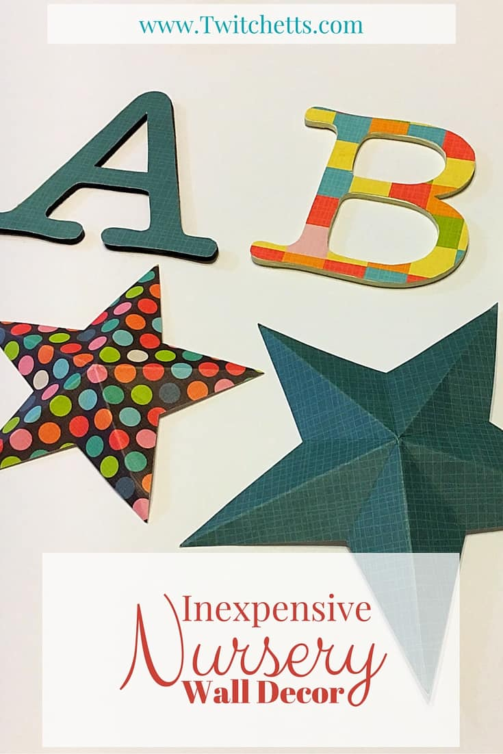 Inexpensive Nursery Wall Decor. An inexpensive, gender neutral way to create an alphabet collage plus decor for over the crib, that wont hurt the baby if it falls off the wall. Choose whichever color you want for either a baby girl, baby boy, or both a boy and a girl.