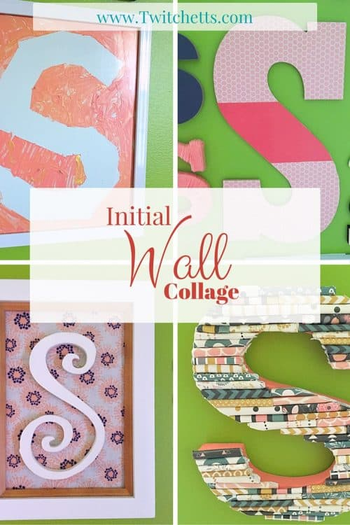 Initial Wall Collage-Multiple crafts to create an alphabet wall for a kids room. Use any color to match any theme, from girls room, to boys room, to a gender neutral or boy/girl room.