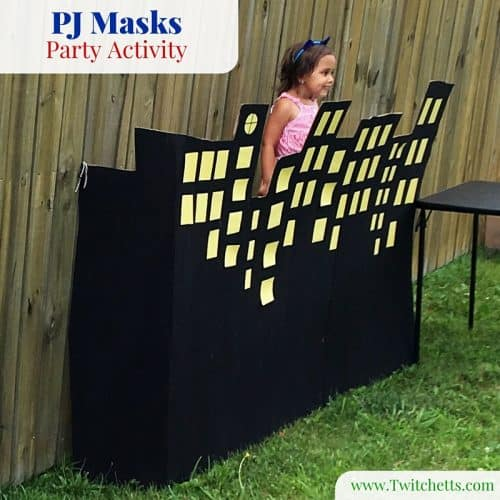 A quick DiY night scene is the perfect prop for our PJ Masks Party Activity!