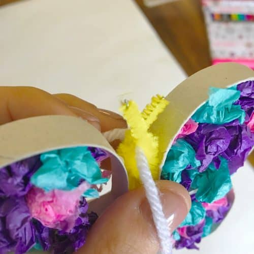 Use up some left over tissue paper to create this easy kids craft. Help your little one increase their pinching skills and focus on fine motor while making these beautiful butterflies.
