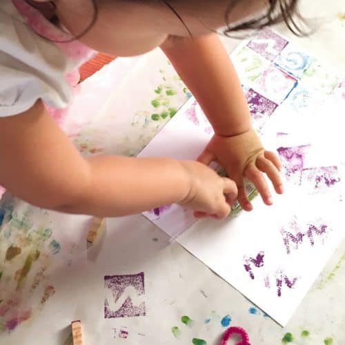 Grab your ink pad and have fun creating these fun designs. This easy kids craft is fast to set up and will keep them busy!