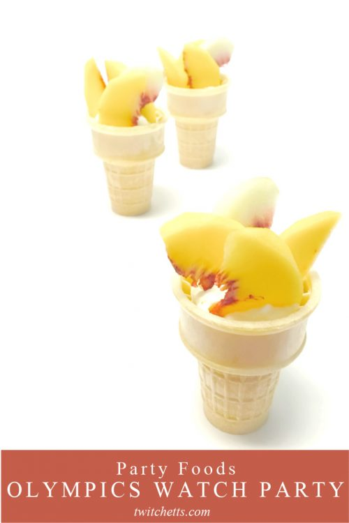 """Image of peaches in an ice cream cone. Text reads """"Party Foods. Olympics Watch Party"""""""