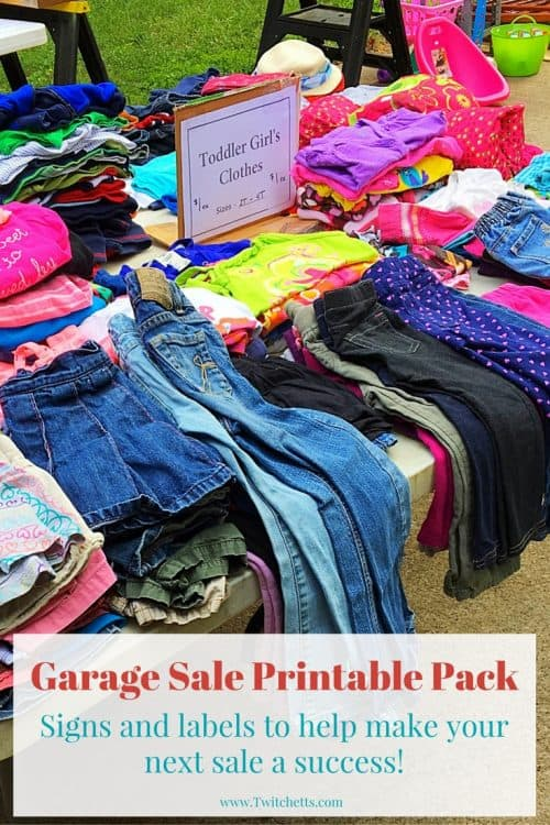 Printable Garage Sale Kit-Print these pages to help with your next garage sale. Signs for all of your tables plus labels with lots of different prices. Great help for making some extra cash.