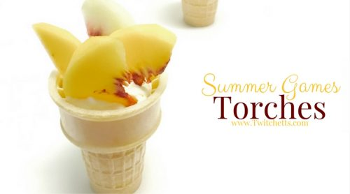 The perfect Summer Games snack. Seasonal peaches and cream are the perfect combination for these fun Olympic Torches.
