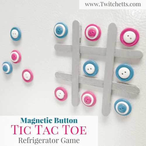 Grab these easy DiY instructions to create your own Magnetic Button Tic Tac Toe to put on your refrigerator. This board sits flush on the fridge and is the perfect little distraction for your kiddos.
