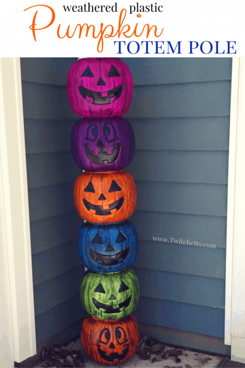 Create an amazing plastic pumpkin totem pole for your front porch. Turn inexpensive plastic pumpkins into Halloween decorations that wow! #plastictotempole #halloweentotempole #pumpkintotempole #weatheredplasticpumpkins #plasticpumpkindecoration #halloweendecor #halloweendiy #twitchetts