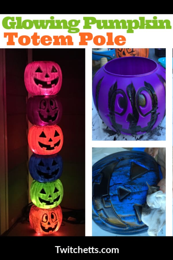 Create this fun glowing pumpkin totem pole with plastic pumpkins. #twitchetts