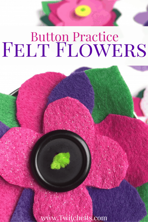 Save a few jar lids to make these super cute button practice felt flowers! Fine Motor, Hand-eye coordination, and a good skill to master for any kid.