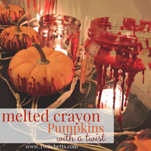 Make fun melted crayon pumpkins, but give them an unexpected twist! This Halloween craft is perfect for kids and adults. Make fall decorations that wow! #meltedcrayon #pumpkin #halloween #fall #craftsforkids #twitchetts