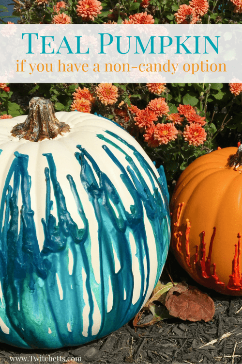 This year for Halloween put out a Teal Pumpkin and stock up on some non-candy treats. Make Halloween fun for all kids! #tealpumpkin #noncandy #foodallergies #tealpumpkincrafts #twitchetts