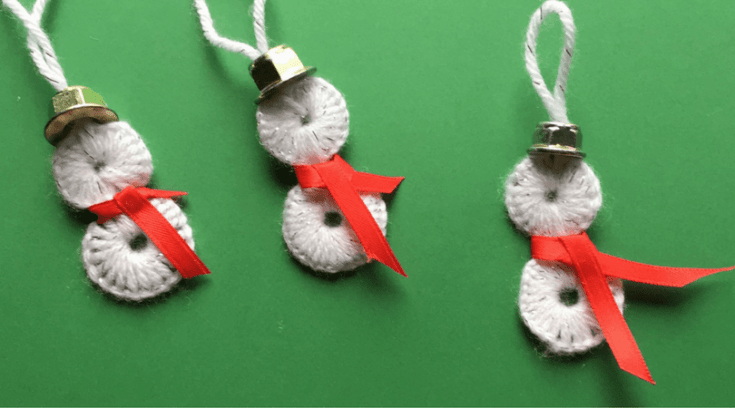 Snowman ornaments using washers