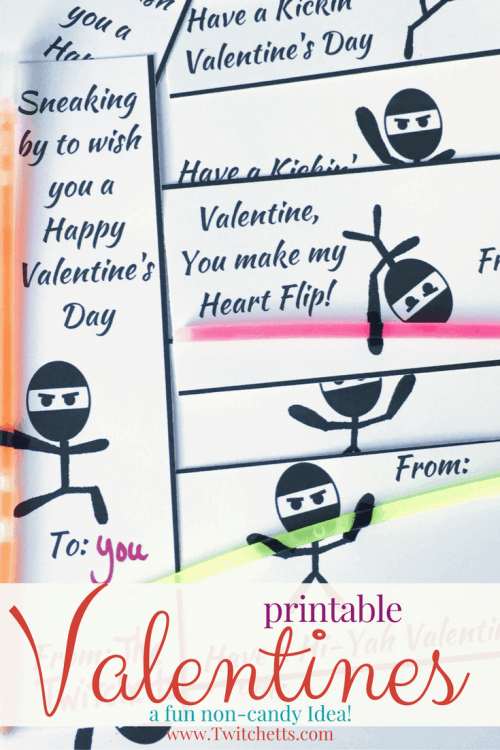 Grab these fun Printable Valentines! They are a fun non-candy Valentine for boys and girls to pass out!