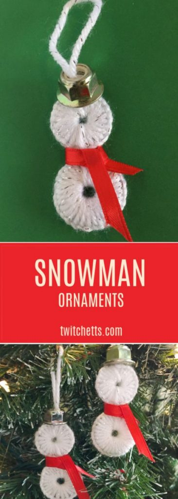 These Washer Snowman ornaments are the perfect snowman decoration to add to your tree! These homemade ornaments make great gifts or are the perfect diy to create for your own tree. #snowman #ornaments #christmas #yarn #washer #twitchetts