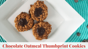 Chocolate Oatmeal Thumbprint Cookies-easy thumbprint cookies that are healthy cookies for kids. Flourless oatmeal cookies are gluten free oatmeal banana cookies.