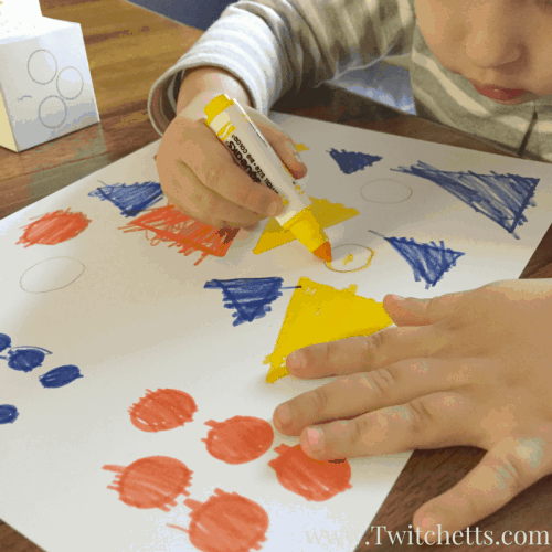Dice games for kids are so much fun! This printable dice game is great for entertaining your preschooler at home or in the classroom. They will practice counting and drawing a couple basic shapes. All while using primary colors.