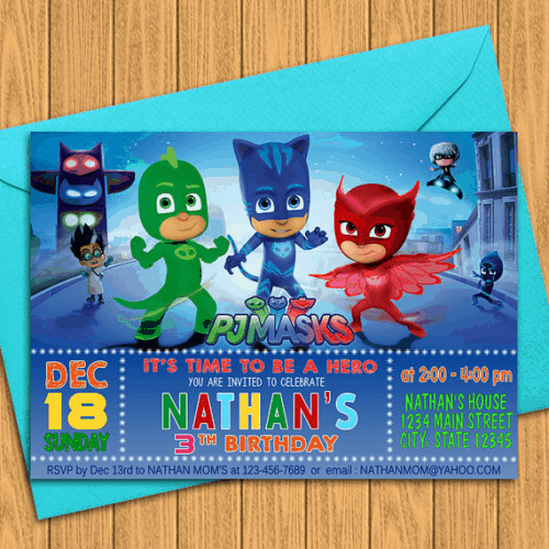 PJ Masks Birthday Party Invitations on Etsy