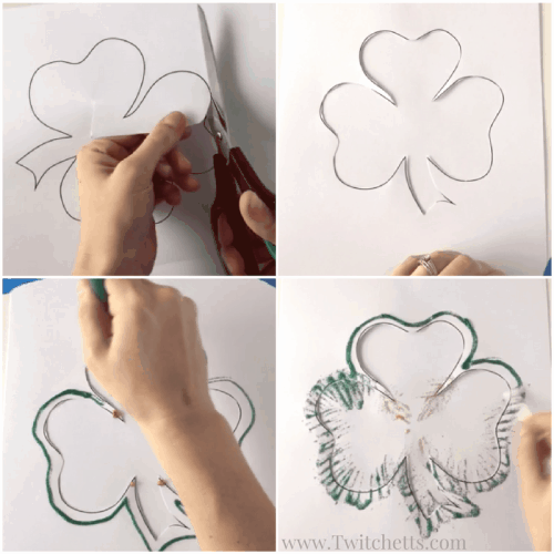 This St. Patrick's Day craft is perfect to do with kids of all ages. This mostly mess free process leaves you with a beautiful St. Patrick's Day decoration.