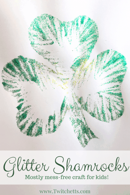 These Mostly Mess Free Glitter Shamrocks are fun St. Patrick's Day Crafts for kids. A fun Shamrock craft that creates a fun St Patricks Day decoration.