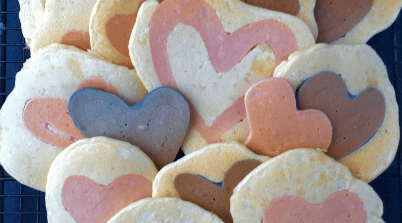 Naturally Dyed Heart Homemade Pancakes – Valentine's Day Breakfast