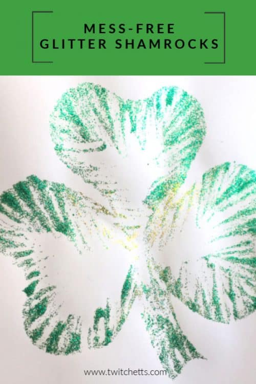 These glitter shamrocks are perfect for St Patrick's Day crafting. This technique makes the project mostly mess-free, which is a win for any glitter art project! #twitchetts