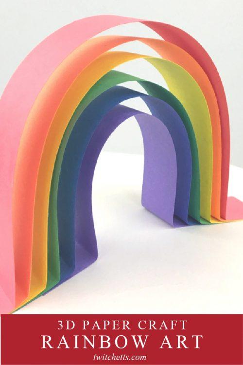 """3D paper rainbow. Text reads """"3D paper craft. Rainbow Art"""""""