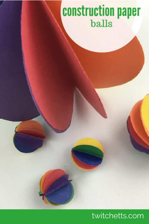 """Image of spheres made from paper. Text reads """"Construction Paper Balls"""""""