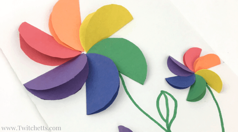 Check out this paper flower tutorial video. These rainbow flowers are fun and easy to make. Perfect for handmade cards.