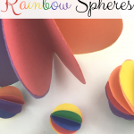 """Image of spheres made from paper. Text reads """"Rainbow Sheres"""""""