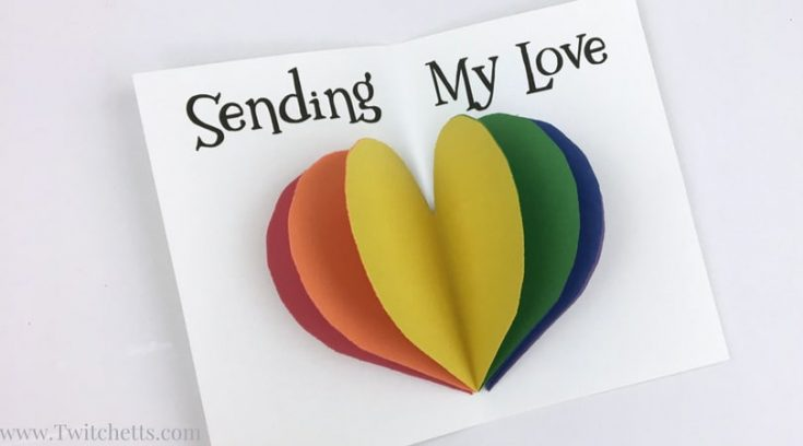 Watch how to make an easy rainbow heart card for your loved one