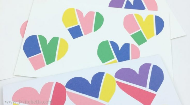 Construction Paper Craft Mended Colored Hearts