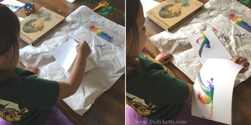 Rainbow String painting is a fun process art. String art for kids creates beautiful thread paintings that are never the same.