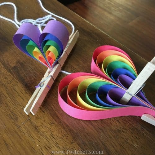 How To Make A Fun Rainbow Heart Mobile Out Of Paper Twitchetts