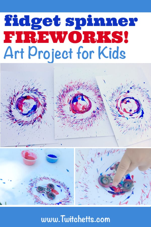 Firework art project for kids! Grab a fidget spinner and make beautiful firecrackers this 4th of July! #twitchetts