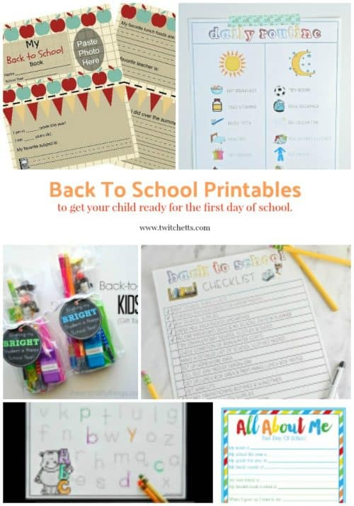 Back to school printables. A resource of printables to get ready for the first day of school. Perfect for starting kindergarten or starting preschool.